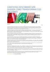 CIENTISTAS DESCOBREM SEM QUERER COMO TRANSFORMAR CO2 EM ETANOL.docx